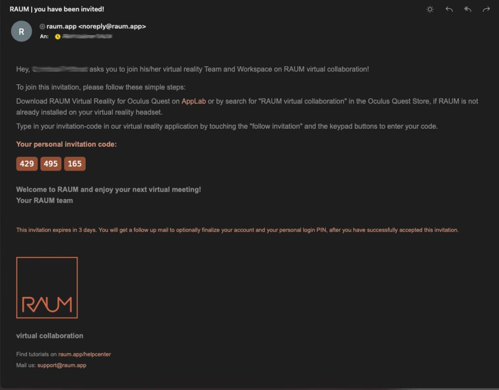 RAUM Invite Email